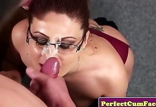 Seductive UK babe facialized by the dean