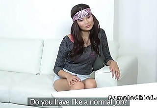 Busty Asian beauty visits female agent