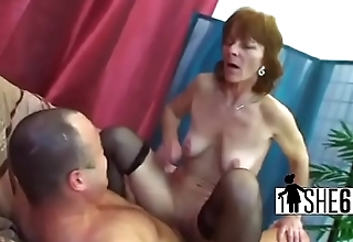 Busty granny playing with fat dick-1