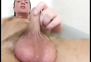 Hot bubble bath boy cock and balls and ass play