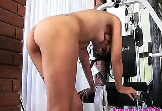Gym tgirl tugging and toying her dick solo
