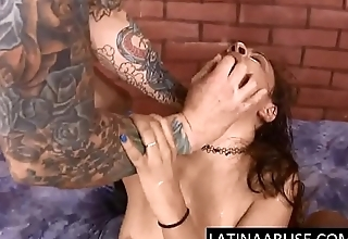Dirty latina skank ass fucked &amp_ throat destroyed by 2 guys