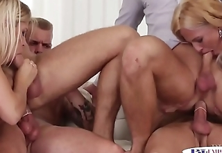 Cockriding studs getting blowjobs by babes