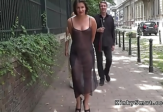 Brunette gets deep throat on the streets