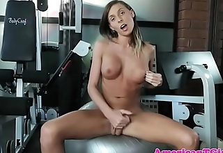 Gym loving tgirl jerks off after working out
