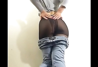 Pantyhose dancer taking off the jeans