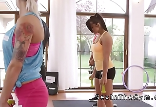 Interracial lesbian fitness after training
