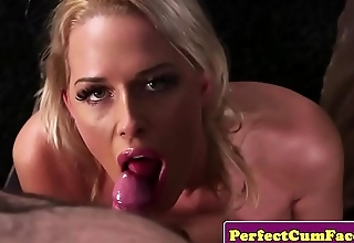 Milf sucks cock in pov and gets facialized