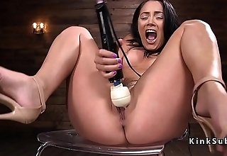 Fucking machine in ass of brunette