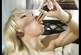 Shiny Gold Dildo Huge Boobs Wife