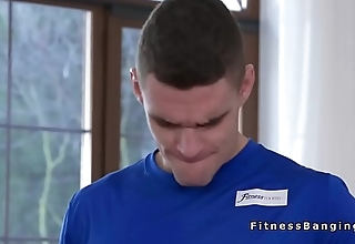 Handsome guy bangs to babes at gym
