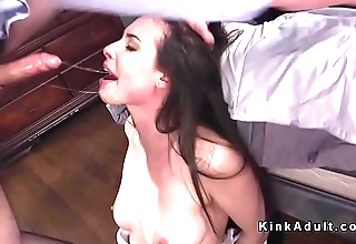 Tied up babe deep throat and anal fucked