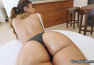 Assy oiled Latina beauty loves big dicks