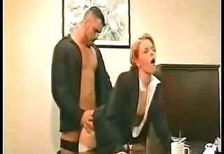 Cum On Clothes - Blonde Secretary Glasses White Stockings Black Heels Fucked On Desk-Cum On Her S