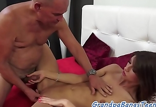 Pussyfucked babe loves pensioners big dick