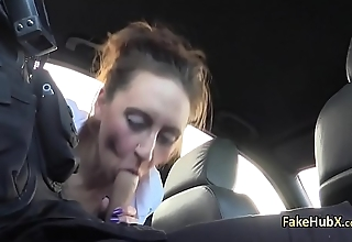 Cop nailed milf pussy outdoors