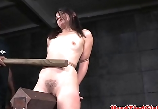 BDSM sub whipped with huge stick by maledom